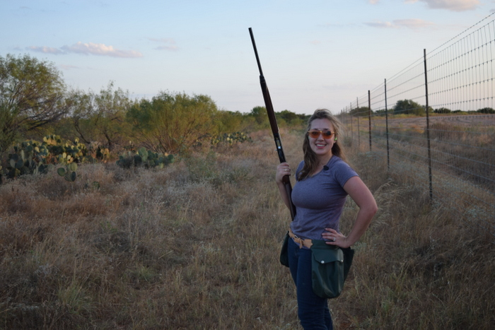 girl dove hunting along fenceline, south texas dove hunting