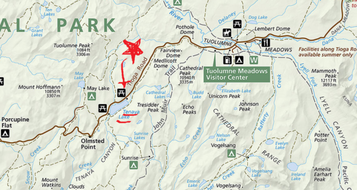 map-of-tenaya-lake